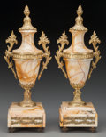 Decorative Arts, French:Other , A Pair of Louis XVI-Style Marble and Gilt Metal Cassolettes, 20thcentury. 14-1/2 inches high (36.8 cm). ... (Total: 2 Items)