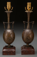 Decorative Arts, French:Lamps & Lighting, A Pair of French Patinated Bronze and Marble Japanesque Lamp Bases,early 20th century. Marks: H. CAHIEUX; BARBEDIENNE. ...(Total: 2 Items)