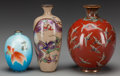 Asian:Japanese, Three Japanese Cloisonné and Enamel Vases, 20th century. Marks:(bird marks), (character marks). 6 inches high (15.2 cm) (ta...(Total: 3 Items)