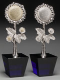 Decorative Arts, Continental:Other , A Pair of Clara Brinkerhoff Crystal, Rhodium, and Glass Sunflowers,circa 2008. Marks to undersides: Brinkerhoff, 2008, 24...(Total: 2 Items)
