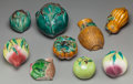 Ceramics & Porcelain, Continental:Modern  (1900 1949)  , A Group of Nine Chinese Ceramic Altar Fruit with Associated Wall Pockets, 20th century. Marks: (impressed character marks). ... (Total: 9 Items)