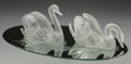 Art Glass:Lalique, A Pair of Lalique Clear and Frosted Glass Cygne Tete Droiteand Cygne Tete Penchee Swans on Etched Mir... (Total: 3Items)