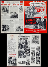 Dragstrip Riot/The Cool and the Crazy Combo & Others Lot (American International, 1958). Pressbooks (17) (Multiple P...