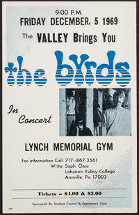 "The Byrds at the Lynch Memorial Gym (Lebanon Valley College, 1969). Concert Window Card (14"" X 22""). Rock and..."