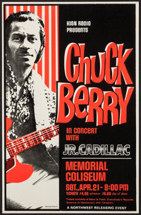 "Chuck Berry at The Memorial Coliseum (Northwest Releasing, 1970s). Concert Window Card (14"" X 22""). Rock and R..."