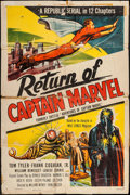 """Movie Posters:Serial, Adventures of Captain Marvel (Republic, R-1953). One Sheet (27"""" X 41""""). Reissue Title: Return of Captain Marvel. Serial...."""