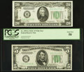 Fr. 1959-G $5 1934C Wide Federal Reserve Note. PCGS About New 50; Fr. 2058-B $20 1934D Narrow Federal Reserve Note. Choi...