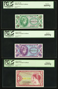 Military Payment Certificates:Series 641, Series 641 5¢; 10¢; $1 PCGS Graded.. ... (Total: 3 notes)