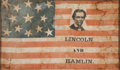 Political:Textile Display (pre-1896), Abraham Lincoln: 1860 Beardless Portrait Campaign Flag....