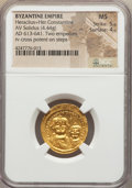 Ancients:Byzantine, Ancients: Heraclius (AD 613-641), with Heraclius Constantine. AVsolidus (4.44 gm)....
