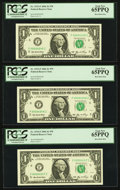 Small Size:Federal Reserve Notes, Low Serial Number Fr. 1933-F $1 2006 Federal Reserve Notes. Five Consecutive Examples. PCGS Gem New 65PPQ.. ... (Total: 5 notes)