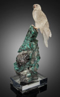 Lapidary Art:Carvings, Falcon on Emerald. Artist: Peter Müller. Stone Source:Brazil & Worldwide. ... (Total: 2 Items)