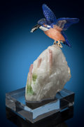 Lapidary Art:Carvings, Kingfisher Carving on Tourmaline. Artist: Peter Müller.Stone Source: Brazil & Worldwide. ... (Total: 2 Items)