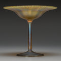 Art Glass:Tiffany , A Tiffany Studios Gold Favrile Glass Compote, Corona, New York,circa 1900. Marks: L.C.T. Favrile, 1702. 5-7/8 inches hi...