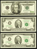 Small Size:Federal Reserve Notes, $2 and $20 FRN Star Notes.. ... (Total: 3 notes)