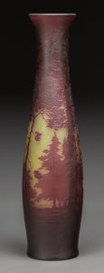 Art Glass:Other , A Monumental Val St. Lambert Enameled Overlay Glass Vase, circa1900. Marks: Val St. Lambert. 23-1/8 inches high (58.7 c...