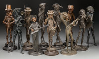 Eleven Figural Bronzed Spelter Candlesticks, 20th century Marks: Fcois George 13-1/4 inches high (33