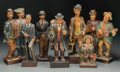 Decorative Arts, Continental:Other , Seven German Carved Wood Whistling Automatons, 20th century. Marks:GERMANY. 14-3/4 inches high (37.5 cm) (tallest). ... (Total:7 Items)