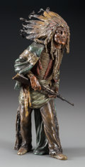 Bronze:European, A Cold-Painted Bronze Figure, after Carl Kauba: IndianChief, 20th century. Marks: C. Kauba. 9 inches high(22.9...
