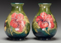 Ceramics & Porcelain, A Pair of Moorcroft Pottery Vases with Hibiscus Motif, Burslem (Stoke-on-Trent), Staffordshire, England, 20th ce... (Total: 2 Items)