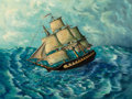 Fine Art - Painting, American:Modern  (1900 1949)  , Thomas Chambers (American, 20th Century). Frigate of theSea. Oil on canvas. 30 x 40 inches (76.2 x 101.6 cm). Signedan...
