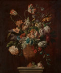 Fine Art - Painting, European:Antique  (Pre 1900), French School (19th Century). Tulips, Roses and other Flowers inVase. Oil on canvas. 30 x 25 inches (76.2 x 63.5 cm). ...