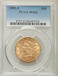 Liberty Eagles: , 1885-S $10 MS62 PCGS. PCGS Population (267/116). NGC Census: (231/62). Mintage: 228,000. Numismedia Wsl. Price for problem ...