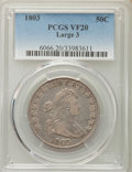 Early Half Dollars, 1803 50C Large 3, VF20 PCGS. PCGS Population (47/369). NGC Census:(18/187). Mintage: 188,234. Numismedia Wsl. Price for pr...