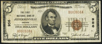Jeffersonville, IN - $5 1929 Ty. 1 The First NB Ch. # 956