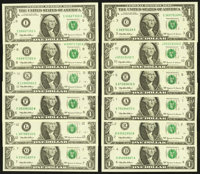 Complete District Set Fr. 1924-A-F/1925-G-L $1 1999 Federal Reserve Notes Choice Crisp Uncirculated or Better