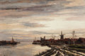 Fine Art - Painting, European:Antique  (Pre 1900), Hermanus Koekkoek (Dutch, 1836-1909). View of Dutch Harbor.Oil on canvas. 24 x 36 inches (61.0 x 91.4 cm). Signed lower...