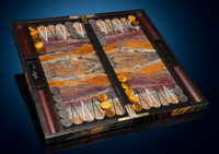 Backgammon Set with Board and Pieces Stone Source: Tiger's Eye; Northern Cape Province, South Africa
