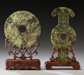 Asian:Chinese, Two Chinese Hardstone Bi Discs on Stands. 8-1/8 inches (20.6 cm)(highest). ...