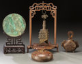 Asian:Chinese, A Chinese Bronze Mirror on Stand, Two Bells, and Wooden Vessel,. 17inches (43.2 cm) (highest, bell on stand). ... (Total: 4 Items)