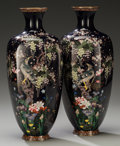 Asian:Japanese, A Pair of Japanese Cloisonné Enamel Hexagonal Vases, Attributed tothe Hayashi Chuzo Workshop, Meiji Period. Marks: (charact...(Total: 2 Items)