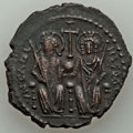 Ancients:Byzantine, Ancients: Justin II (AD 565-578), with Sophie. Æ follis (11.18gm)....