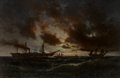 Fine Art - Painting, European:Antique  (Pre 1900), Anton Melbye (Danish, 1818-1875). Ships in a Rough Sea,1859. Oil on canvas. 27-3/4 x 42-3/4 inches (70.5 x 108.6 cm). S...