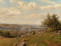 Fine Art - Painting, American:Antique  (Pre 1900), Henri A. Ferguson (American, 1842-1911). Lake Landscape withSheep. Oil on canvas. 21 x 26-1/2 inches (53.3 x 67.3 cm). ...