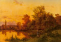 Fine Art - Painting, European:Antique  (Pre 1900), Henry John Yeend King (British, 1855-1924). Young girl walkingby a lake. Oil on canvas. 18 x 25-3/4 inches (45.7 x 65.4...