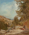 Fine Art - Painting, European:Antique  (Pre 1900), Dominique Baron (French, 19th Century). Couple courting by astream. Oil on canvas. 28-3/4 x 23-1/2 inches (73 x 59.7 cm...