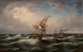 Fine Art - Painting, European:Antique  (Pre 1900), Albert Marees (German, Late 19th Century). Ships on a ChoppySea. Oil on canvas. 19 x 29 inches (48.3 x 73.7 cm). Signed...