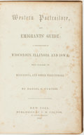 Books:Travels & Voyages, Daniel S. Curtiss. Western Portraiture, and Emigrants' Guide: A Description of Wisconsin, Illinois, and Iowa; with Remar...