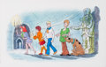 Animation Art:Production Drawing, Scooby-Doo Where Are You? Velma, Daphne, Freddie, Shaggy, and Scooby Illustration (Hanna-Barbera, 2004)....