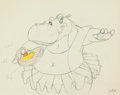 Animation Art:Production Drawing, Fantasia Hyacinth Hippo Animation Drawing (Walt Disney,1940)....