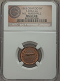 Civil War Merchants, 1863 M.L. Marshall, Oswego, NY, Fuld 695A-2a, R.1, MS63 Red andBrown NGC. ...