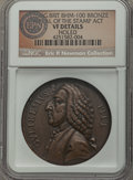 Betts Medals, 1766 William Pitt Medal, Repeal of the Stamp Act, Betts-515 - Holed- NGC Details. VF. ...