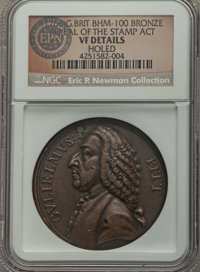 1766 William Pitt Medal, Repeal of the Stamp Act, Betts-515 - Holed - NGC Details. VF