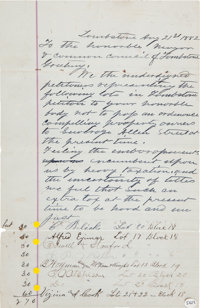 Rare and Important August 21, 1882, Tombstone Petition Signed by Many of the Town's Leading Citizens