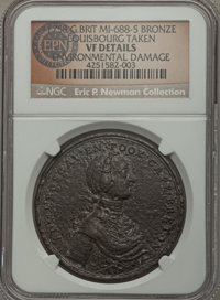 1758 Boscawen at Louisbourg Medal, Betts-403 - Environmental Damage - NGC Details. VF