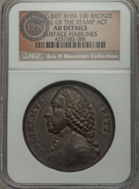 1766 William Pitt Medal, Repeal of the Stamp Act, Betts-517 - Surface Hairlines - NGC Details. AU